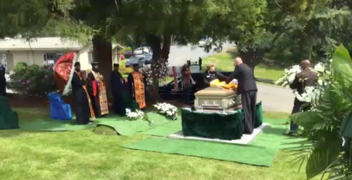 A graveside funeral ceremony hosted by Zoom at BONNEY WATSON's Washington Memorial cemetery